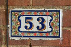 Número da casa 53 Imagens de Stock Royalty Free