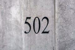 Número da casa 502 imagens de stock