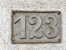 Número da casa velho 123 Fotografia de Stock