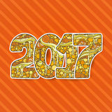 Número 2017 da celebração do ano novo feliz Ilustração do Xmas do vetor no zentangle Fotos de Stock Royalty Free