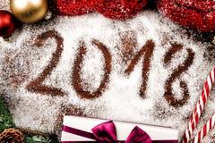 Número de año futuro en nieve Fotos de archivo
