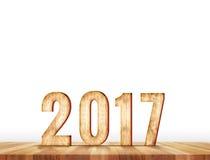 número de 2017 años en tabla del tablón de la perspectiva en el blanco, Le Imágenes de archivo libres de regalías