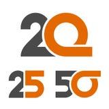 20 25 número de 50 aniversários Imagem de Stock