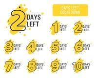 Número de etiquetas izquierdas de los días Etiquetas amarillas brillantes del coutdown para la promoción del negocio, venta, desc libre illustration