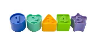 Número de figuras con números a partir del uno a cinco Imagen de archivo