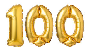 número 100 de globos de oro Foto de archivo