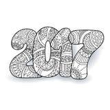 Número 2017 de la celebración de la Feliz Año Nuevo Ejemplo de Navidad del vector en zentangle Fotografía de archivo