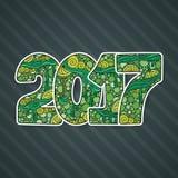 Número 2017 de la celebración de la Feliz Año Nuevo Ejemplo de Navidad del vector en zentangle Imagen de archivo
