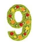 Número de la fruta - 9 foto de archivo