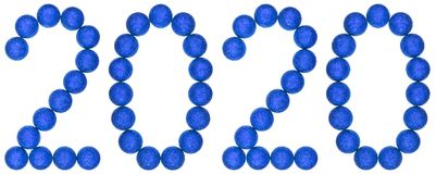 Número 2020 de las bolas decorativas azules, aisladas en el backg blanco Fotos de archivo