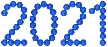 Número 2021 de las bolas decorativas azules, aisladas en el backg blanco Foto de archivo