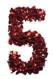 Número 5 de las flores secadas del té del hibisco en un fondo blanco Número para las banderas, anuncios Imagen de archivo
