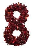 Número 8 de las flores secadas del té del hibisco en un fondo blanco Número para las banderas, anuncios Fotos de archivo libres de regalías