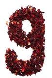 Número 9 de las flores secadas del té del hibisco en un fondo blanco Número para las banderas, anuncios Fotos de archivo libres de regalías