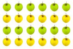 Número de las manzanas del modelo de la fruta de blanco amarillo verde jugoso brillante del fondo Imágenes de archivo libres de regalías