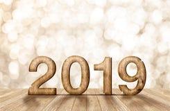 número de madeira do ano 2019 feliz na sala da perspectiva com efervescência b Fotografia de Stock Royalty Free