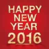 Número de madera de la Feliz Año Nuevo 2016 con la luz chispeante de la estrella en rojo Foto de archivo libre de regalías