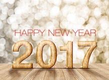Número de madera de la Feliz Año Nuevo 2017 en sitio de la perspectiva con sparkli Imagen de archivo libre de regalías