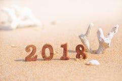 Número de madera 2018 en fondo tropical de la playa Fotografía de archivo libre de regalías
