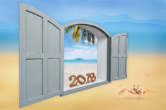 Número de madera 2018 en ventana con el cangrejo en fondo de la playa Foto de archivo