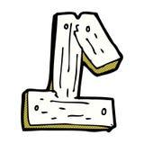 número de madera uno de la historieta cómica Imagenes de archivo