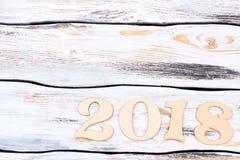 Número de madera 2018 y espacio de la copia Fotografía de archivo libre de regalías
