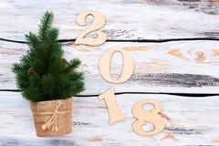 Número de madera 2018 y poca picea Imagen de archivo