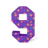 Número de papel nove do origâmi Fotografia de Stock