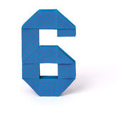 Número de papel seis do origâmi Imagem de Stock