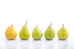 Número de peras em um fundo branco Imagem de Stock