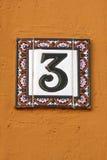 Número de placa de la dirección de la casa del número tres Imagen de archivo