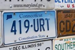Número de registro americano del coche, Connecticut Fotos de archivo