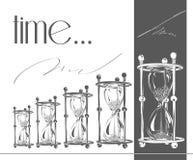 Número de reloj de arena en el fondo blanco Contador de tiempo simple y elegante del arena-vidrio Ejemplo del vector del reloj de Fotos de archivo libres de regalías