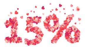 número de um vetor de 15 por cento feito dos corações cor-de-rosa e vermelhos dos confetes Fotos de Stock