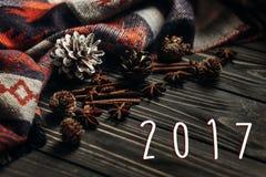 número del Año Nuevo de la muestra de 2017 textos en fondo rústico de madera Spa Imágenes de archivo libres de regalías