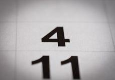 Número del calendario cuatro Imágenes de archivo libres de regalías