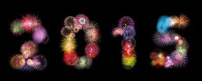 Número del fuego artificial del Año Nuevo 2015 Imágenes de archivo libres de regalías