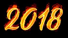Número del fuego en el negro 2018/ Foto de archivo libre de regalías