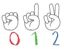 Número del gesto de mano del garabato stock de ilustración