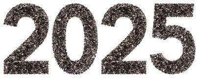 Número 2025 del negro un carbón de leña natural, aislado en los vagos blancos Fotos de archivo