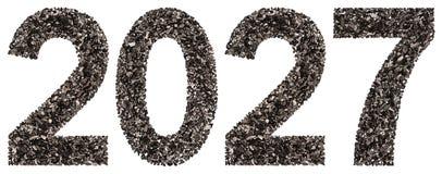 Número 2027 del negro un carbón de leña natural, aislado en los vagos blancos Foto de archivo libre de regalías