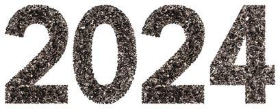 Número 2024 del negro un carbón de leña natural, aislado en los vagos blancos Fotografía de archivo libre de regalías