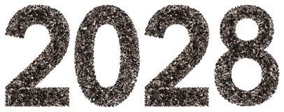 Número 2028 del negro un carbón de leña natural, aislado en los vagos blancos Imagen de archivo libre de regalías