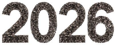 Número 2026 del negro un carbón de leña natural, aislado en los vagos blancos Imagen de archivo