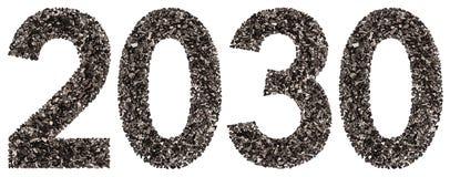 Número 2030 del negro un carbón de leña natural, aislado en los vagos blancos Imagenes de archivo
