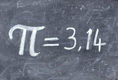 Número del pi en la pizarra Foto de archivo