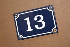 Número diagonal trece Fotografía de archivo