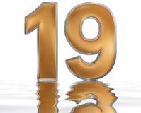 Número 19, diecinueve, reflejado en la superficie del agua, o stock de ilustración