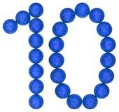 Número 10, diez, de las bolas decorativas, aisladas en el backgr blanco Imágenes de archivo libres de regalías