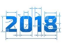 Número do ano novo 2018 com linhas de dimensão Foto de Stock